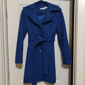 Kenneth Cole Blue Felt Trench Coat